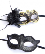 His & Hers - Black & Gold Venetian Masquerade Masks for Couples