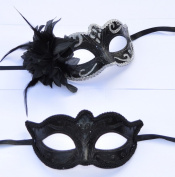 His & Hers - Black & Silver Venetian Masquerade Masks for Couples