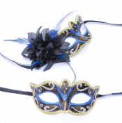 His & Hers - Royal Blue Venetian Masquerade Masks for Couples