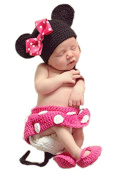 Baby Photography Prop Cute Minnie Mouse Knitted Crochet Hat Dress Nappy Shoes(pink) By Xselector