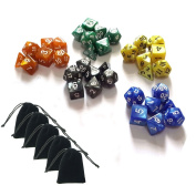 SmartDealsPro 5 x 7-Die Series 5 Colours Symphony Dungeons and Dragons DND RPG MTG Table Games Dice with Free Pouches