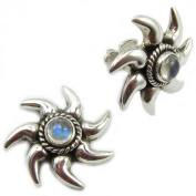 Rainbow moonstone sterling silver ear studs - Stone size 4mm
