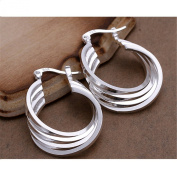 BODYA Fancy Sterling Silver plated wide oval Classic drop Hoop earring circle Hinged ear ring