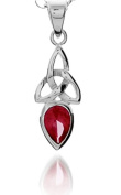 A 925 SILVER CELTIC TRINITY PENDANT NECKLACE WITH JULY BIRTH STONE (RUBY) ON 46cm CHAIN