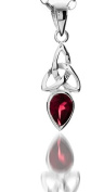 A 925 SILVER CELTIC TRINITY PENDANT NECKLACE WITH JANUARY BIRTH STONE (GARNET) ON 46cm CHAIN