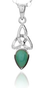 A 925 SILVER CELTIC TRINITY PENDANT NECKLACE DECEMBER BIRTH STONE (TURQUOISE) 41cm CHAIN