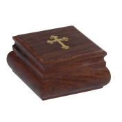 Handmade Christian Orthodox Wooden Olive Wood Storage Box with Decorative Cross / 9444