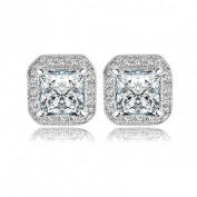 AnaZoz 18K Gold Plated Square Stud Earring Rose Gold Plate/Platinum Plated SWA Elements s Earrings