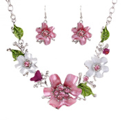 Yazilind Vogue Silver Plated Charming Crystal Flower Bib Collar Necklace Earrings Jewellery Set