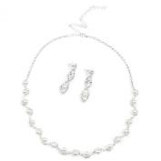 Wedding Bridal Jewellery Set Necklace Earrings Rhinestone Faux Pearl Decorated