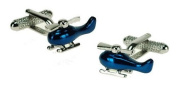 Blue Chopper Helicopter Cufflinks In Deluxe Gift Box