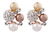 CLIP ON EARRINGS - GOLD PLATED WITH RHINESTONE CRYSTALS & PEARLS - Hilda by Bello London