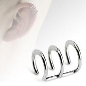 Clip On Ear Cuff - Body Jewellery - Fake Helix Piercing - Triple Plain Ring Look