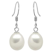 925 Sterling Silver Ladies Drop Dangle Earrings With Freshwater Cultured Pearls For Bridal Wedding Prom Casual Formal Occasions - Cream