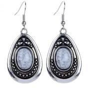 Yazilind Vintage Tibetan Silver White Oval Turquoise Dangle Drop Hook Earrings Women Gift