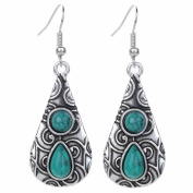Yazilind Vintage Tibetan Silver Red Round Teardrop Resin Embossed Dangle Drop Hook Earrings