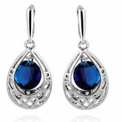 Yazilind Pretty Waterdrop Design Silver Plated Round Cubic Zirconia Dangle Drop Earrings for Women