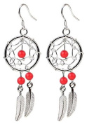 Hand made Silver Dream catcher Earrings with genuine stone. Beautifully designed and hand finished to a very high jewellery standard.