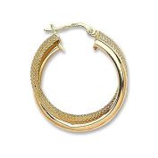 JQS - Pair of 9ct Yellow Gold Plain & Honeycomb 25mm Diameter Double Hoop Earrings Wt 2.2G