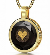 """NanoStyle - Gold Plated Love Necklace - I Love You Inscribed in 24ct Gold with Miniature Text in 120 Languages on Cubic Zirconia Pendant - 0.6"""", 16mm"""