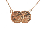 9ct Rose Gold Double Coin Necklace