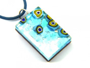 Murano Glass Pendant - Blue on Silver Leaf with Millefiori & Includes Gift Box