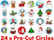 24 x 38mm Pre Cut Father Christmas Mixed (24) Santa Claus Xmas Festive Fairy Muffin Cup Cake Toppers Decoration Edible Rice Wafer Paper