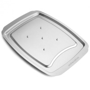 Andrew James Stainless Steel Spiked Meat And Poultry Carving Tray, With Safety Guards And Lipped Rim - 2 Year Warranty