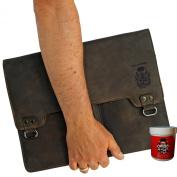 BARON of MALTZAHN Portfolio College bag CURIE brown buffalo leather