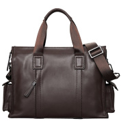 ONEWORLD High Quality Men's Double Tote Handbag Genuine Cattle Hide 100% Real Leather Fashion Bussiness Handbag Clutch Straps