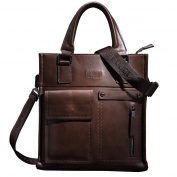 ONEWORLD Brand New Fashion Casual Men's Genuine Cowhide Business Briefcases Full Grain Leather Handbags Messenger Shoulder Bags Dark Coffee