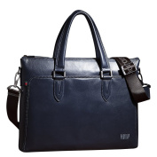 ONEWORLD High Quality Men's 100% Real Leather Genuine Cowhide Double Tote One Shoulder Messenger Style Handbag