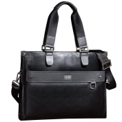 ONEWORLD High Quality Men's Fashion Genuine Cattlehide Real Leather Made Multi Purpose Handbag Double Tote Hand Taking Bag