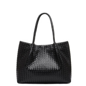 FAIRYSAN Charm Large Capacity 2 In 1 Weave Messenger Handbag Shopping Tote Shoulder Bag for Women black