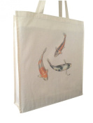 Coy Carp Fish Reusable Cotton Shopping Bag Tote Gusset for Extra Space and Long Handles - Perfect Gift
