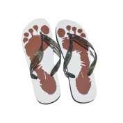 Mens White Flip Flops with Foot Design UK Shoe 8-12 / Euro 42-45