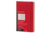 Moleskine 2017 Weekly Notebook, 12m, Pocket, Scarlet Red, Hard Cover