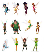 12 Stand Up Tinkerbell Fairy and Pirate Friends Edible Premium Wafer Paper Cake Toppers