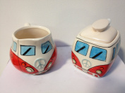 CAMPERVAN MILK JUG AND SUGAR POT RED