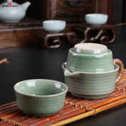 Chinese Celadon Tea Set - Tea Pot with two Cups