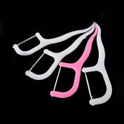 New Oral Care Tool Dental Floss Picks Toothpicks Stick White & Pink 75pcs