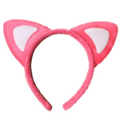 Pink and White Soft Padded Fur Cat Ears Alice Hair Band Headband Fancy Dress Party Hen