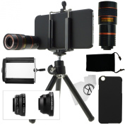 CamKix Camera Lens Kit for iPhone 6 / 6S - including 8x Telephoto Lens / Fisheye Lens / 2 in 1 Macro Lens and Wide Angle Lens / Tripod / Phone Holder / Hard Case / Velvet Bag / Cleaning Cloth