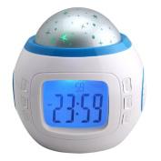 TRIXES LED Digital Alarm Clock Star Sky Projection Night Music Projector