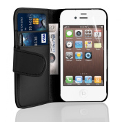 iPhone 4 Case - Leather Wallet Flip Cover for iPhone 4 and 4S, Black