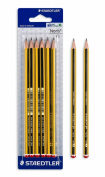 STAEDTLER HB2 NORIS PENCILS PAC of 6 items yellow and black stripes