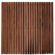 Bare Decor Fuji String Spa Shower Mat in Solid Teak Wood Oiled Finish. XL Square 80cm x 80cm