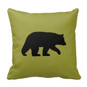 Cute Pillow Cover Cotton 20 X 20 Twin Sides Black Bear Silhouette - Customizable Colour Pillowcase