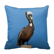 Cute Pillow Cover Cotton 20 X 20 Twin Sides Brown Pelican Perching On A Post Pillowcases