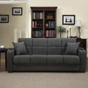 Tyler Microfiber Storage Arm Convert-a-couch Sofa Sleepr Bed, Grey, Designed with a Storage Area and Cup Holder Built Into Each Arm